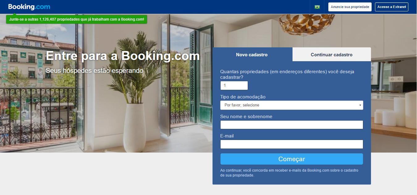 anunciar na booking - página de cadastro